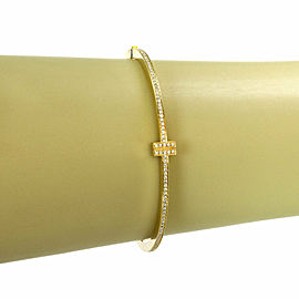 Tiffany & Co. T Two Diamond 18k Yellow Gold Hinged Bangle Bracelet
