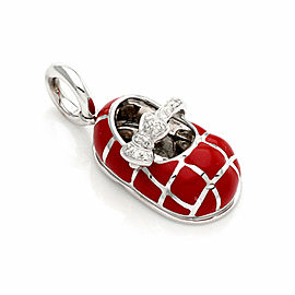 Aaron Basha Diamond 18K White Gold & Red Quilt Baby Shoe Charm