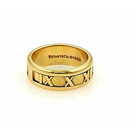 Tiffany & Co. Atlas Roman Numeral 18k Yellow Gold Band Ring Size 5.5