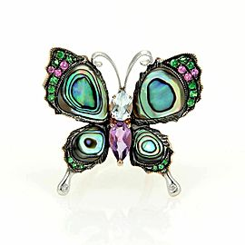 Multicolor Gems Diamond & Abalone Shell Butterfly 18k Gold Ring