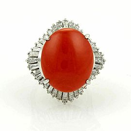 Estate Platinum 2.75ct Baguette Diamonds & Oval Coral Cocktail Ring