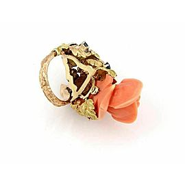 Estate 1.00ct Diamond & Sapphire Carved Coral Rose 18k Tricolor Gold Ring
