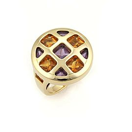 Cartier Pasha Citrine & Amethyst 18k Gold Round Ring Size 50