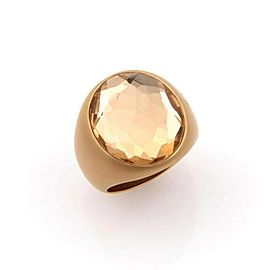 Pomellato Narciso 18k Yellow Gold Large Quartz Ring Size 6.75