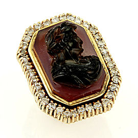 Diamond & Carnelian High Relief Carved 14k Gold Julius Caesar Ring