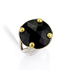 Gurhan Rose Cut Black Spinal Sterling 24k Gold Round Top Ring