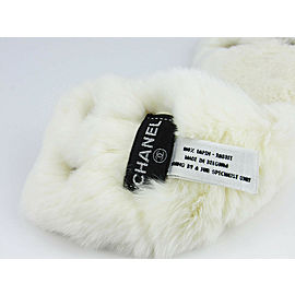 Chanel Lapin White Fur Faux Pearl Metal C Logo Charm Wide Press Clasp Bracelet