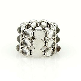 H. Stern 18k White Gold & Oval Clear Gems Three Rows Flex Chain Link Band Ring