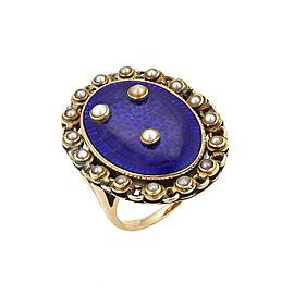 Antique 14k Yellow Gold Seed Pearls Blue Enamel Large Oval Ring