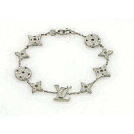 Louis Vuitton Monogram 18k White Gold All Around Diamond Bracelet