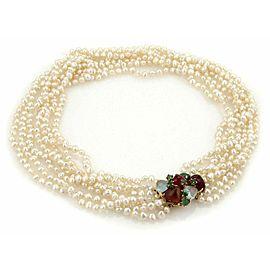 Estate Multistrand Baroque Pearls & Multi Gems 14k Yellow Gold Choker Necklace