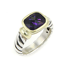 David Yurman 14k Gold & Sterling Silver Amethyst Cable Design Ring Size 6