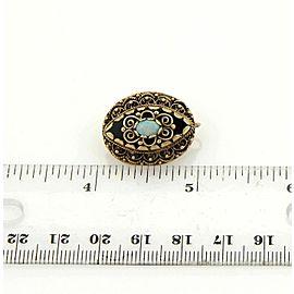 Vintage Opal & Black Enamel Fancy Scroll Design Drop Earrings