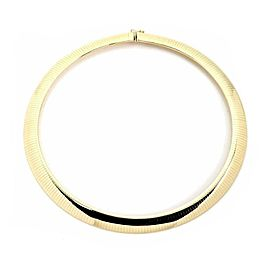 """Italy 14k Yellow Gold Soft Flexible Omega 11.5mm Wide Collar Necklace 17"""""""