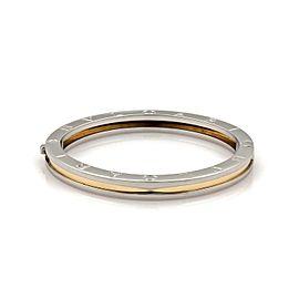"Bvlgari B Zero-1 Steel 18k Yellow Gold Engraved Bangle Bracelet 7.5"""