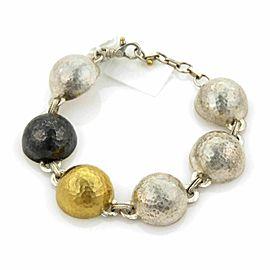 Gurhan Dome 24k Gold Black White Sterling Half Dome Link Bracelet