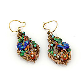 Antique Silver & 14k Gold Multicolor Enamel Turquoise Rooster Dangle Earrings