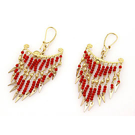 Sun Day 18k Yellow Gold Multi Coral Bead Strand Chandelier Earrings