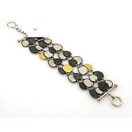 Gurhan CONTOUR Sterling & 24k Gold Med Round Discs Multi-Strand Bracelet