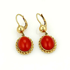 Vintage Blood Coral Oval Dangle 18k Yellow Gold Earrings