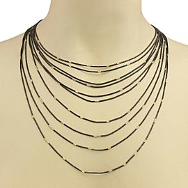 Gurhan Darkened Sterling Silver 24k Gold Graduated Tube Link Drape Necklace