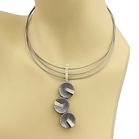 Davide Bigazzi Sterling Silver Triple Cable & Drop Pendant Necklace