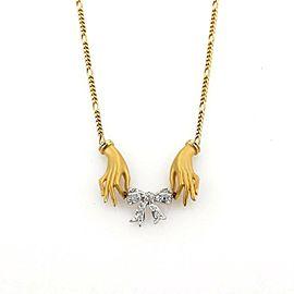 Carrera y Carrera Hands & Diamond Bow 18k Yellow Gold Necklace