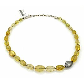 Gurhan 240ct Yellow Beryl Sterling & 24k Gold Necklace