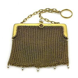 Victorian 9k Yellow Gold & Pearls Mesh Purse Bag Circa