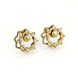 Vintage Diamonds 14K Yellow Gold Floral Stud Spinner Earrings