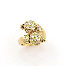 Boucheron 1.50ct Diamond Double Swan By Pass 18k Yellow Gold Ring