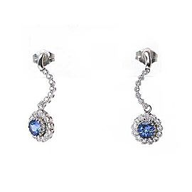 Diamond & Sapphire 14k White Gold Curved Floral Dangle Earrings
