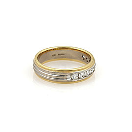 Hearts On Fire Diamond 18k Two Tone Gold Band Ring Size 9.5