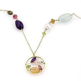 Tous Multi Gemstone & Pearls 18k Yellow Gold Long Necklace