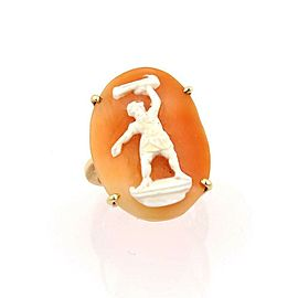 Estate 14K Yellow Gold Shell Cameo Carved Full Figure Ring