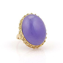 Estate 14K Yellow Gold Large 29Mm Lavender Jade Solitaire Ring - Size 10
