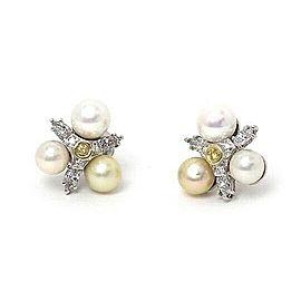 Diamond & Pearls 14k White Gold Floral Stud Earrings