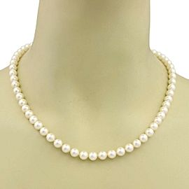 Mikimoto Akoya Single Strand 7mm Pearls 18k Yellow Gold Necklace