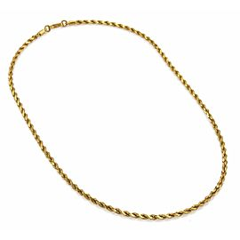 """Vintage 22k Yellow Gold Twisted Rope Design Chain Necklace 21"""" Long"""