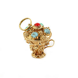 Vintage 18k Gold Turquoise & Coral Etruscan Design Champion Cup Charm Pendant