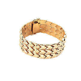 Retro 18k Pink Gold 3 Row Geometric Link 22mm Wide Flex Bracelet