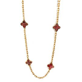 Pink Rhodonite 18k Yellow Gold 8 Floral Station Necklace