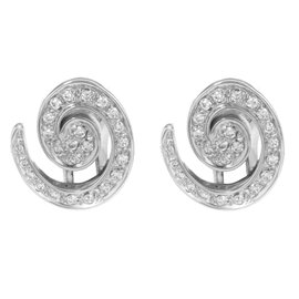 Salvini 18K White Gold with Diamonds Huggie Earrings