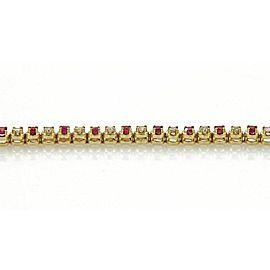 """Diamond & Ruby 14k Yellow Gold Tennis Bracelet - 7.25"""" Long"""