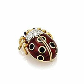 Tiffany & Co. Diamond 18k Yellow Gold Enamel Mini Bug Brooch Pin