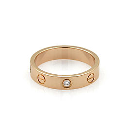 Cartier Mini Love 1 Diamond 18k Pink Gold 3.5mm Band Ring Size 6