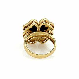 Diamond & Onyx 18k Yellow Gold Floral Ring