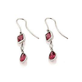 Tiffany & Co. Diamond Pink Tourmaline 18k White Gold Hook Dangle Earrings