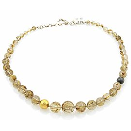 Gurhan GALAPAGOS Rutilated Quartz 24k Gold & Dark Sterling Graduated Necklace