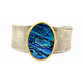 Gurhan Surf Paua Shell 24k Gold & Sterling Silver Large Cuff Bracelet Rt. $2,625